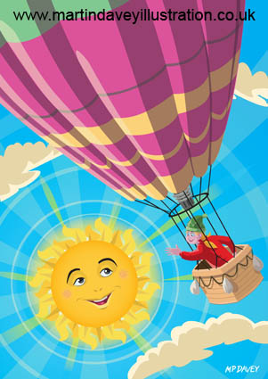 Girl in a balloon greeting a happy sun vector illustration