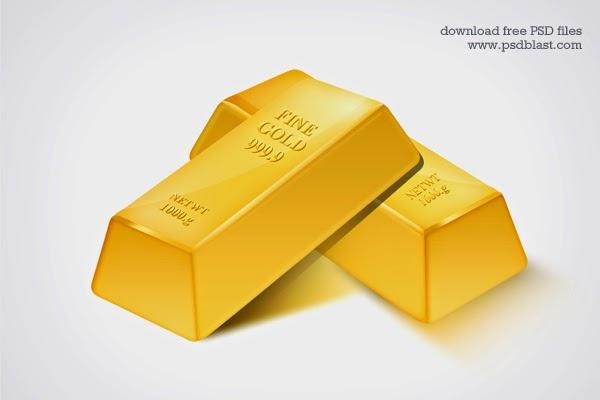 Gold Bar Icon PSD