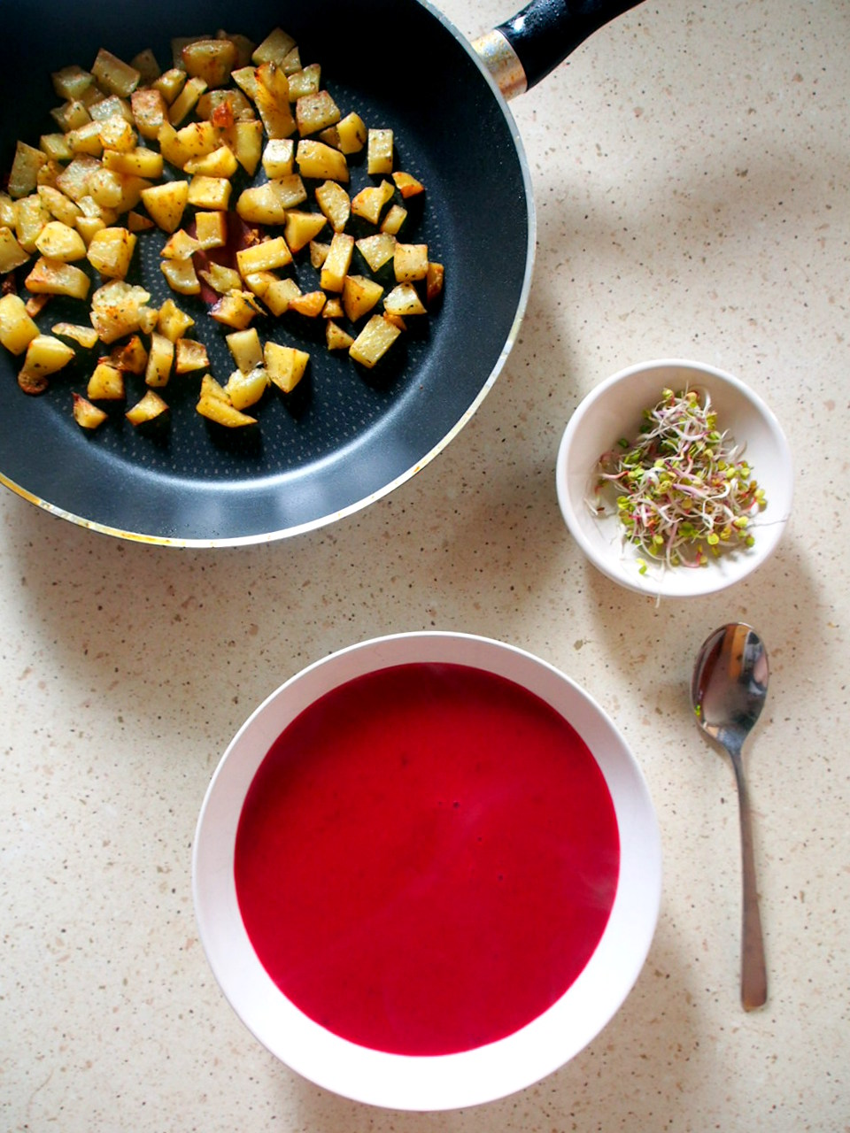 Recipe: Roasted Beet and Potato Soup.