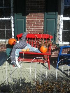 Allergy free scarecrow with pumpkin head and no straw.