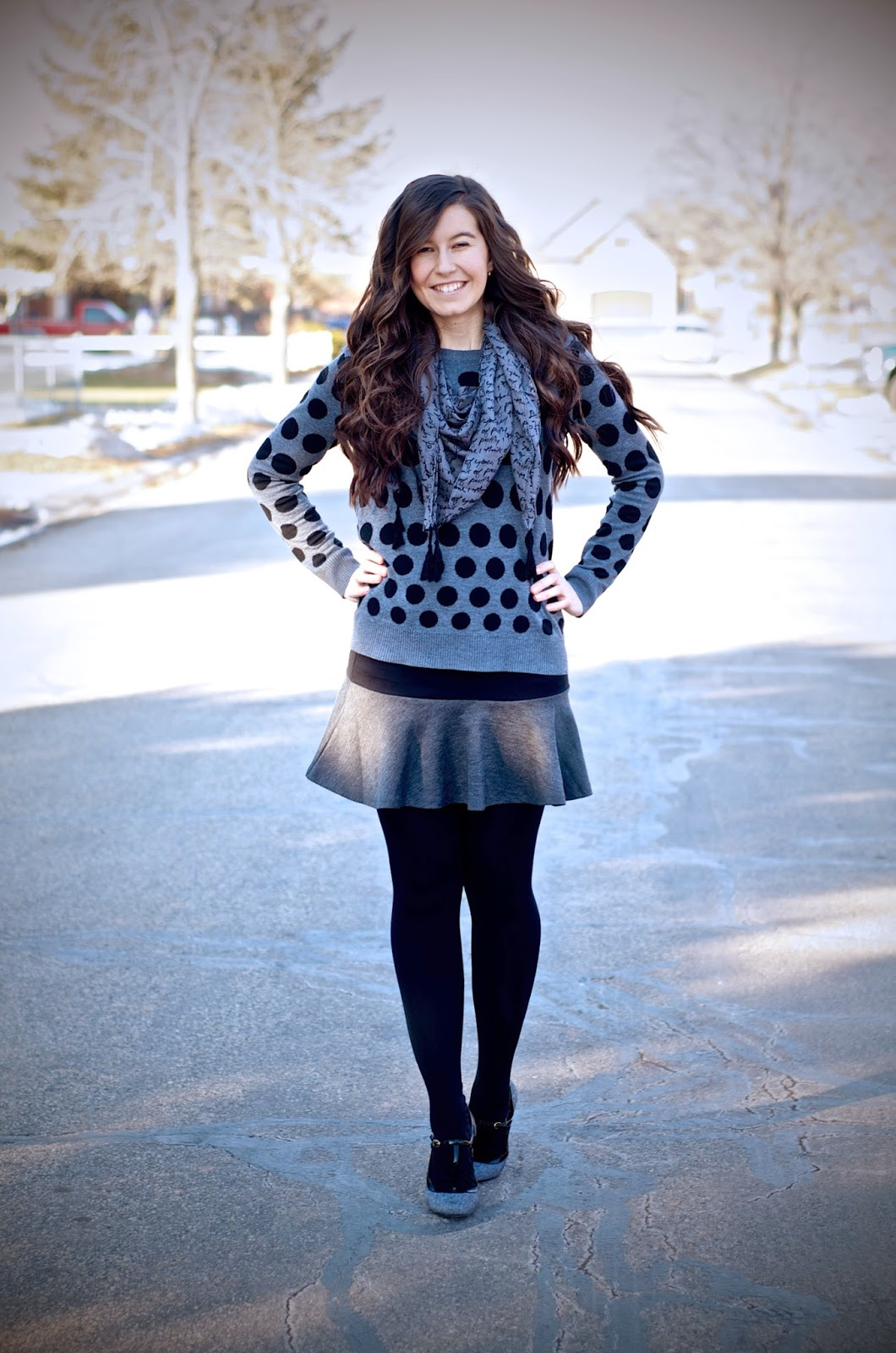 forever 21, kensie clothing, persun mall, polka dot, twirling photo, script scarf, polka dot sweater, black and grey skirt, black and grey outfit, payless, heels,