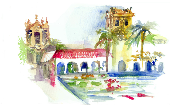Shiho Nakaza San Diego West Coast Urban Sketchers Sketchcrawl San Diego watercolor Balboa Park reflecting pond botanical building