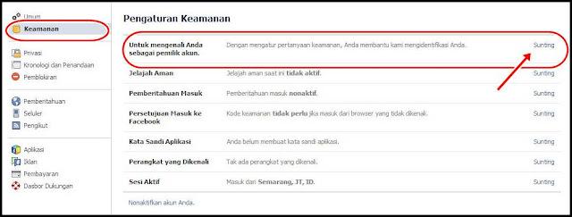 pengaturan keamanan facebook