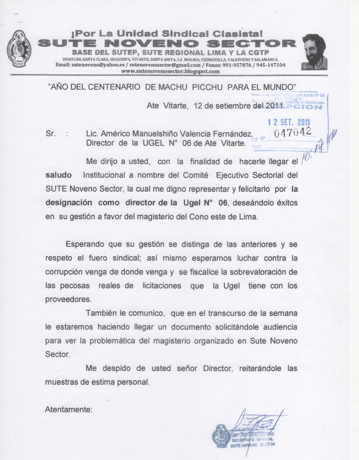 NUEVO DIRECTOR DE LA UGEL N° 06 DE ATE VITARTE.