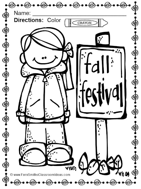 Fern Smith's Classroom Ideas Color for Fun, First Semester Bundle for Fall Fun! Color For Fun Printable Coloring Pages FREEBIE