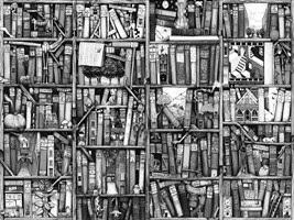 scaffale con libri foto