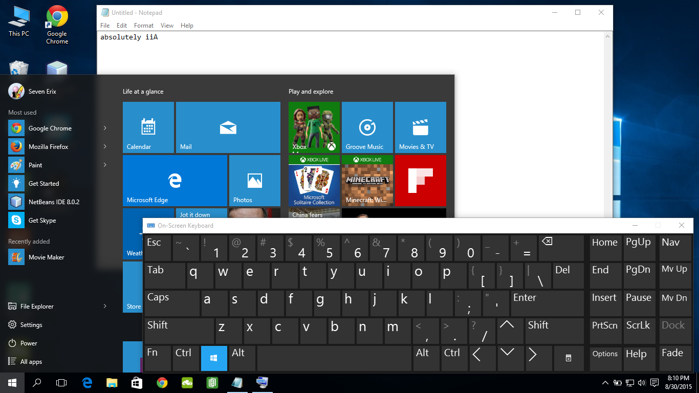 Android er on screen keyboard of windows 10 for Window keyboard