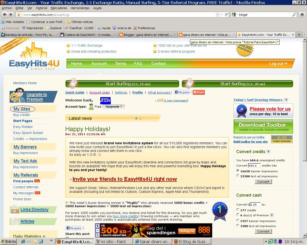 tutorial easyhits4u. publicidad gratis Mi+sitio