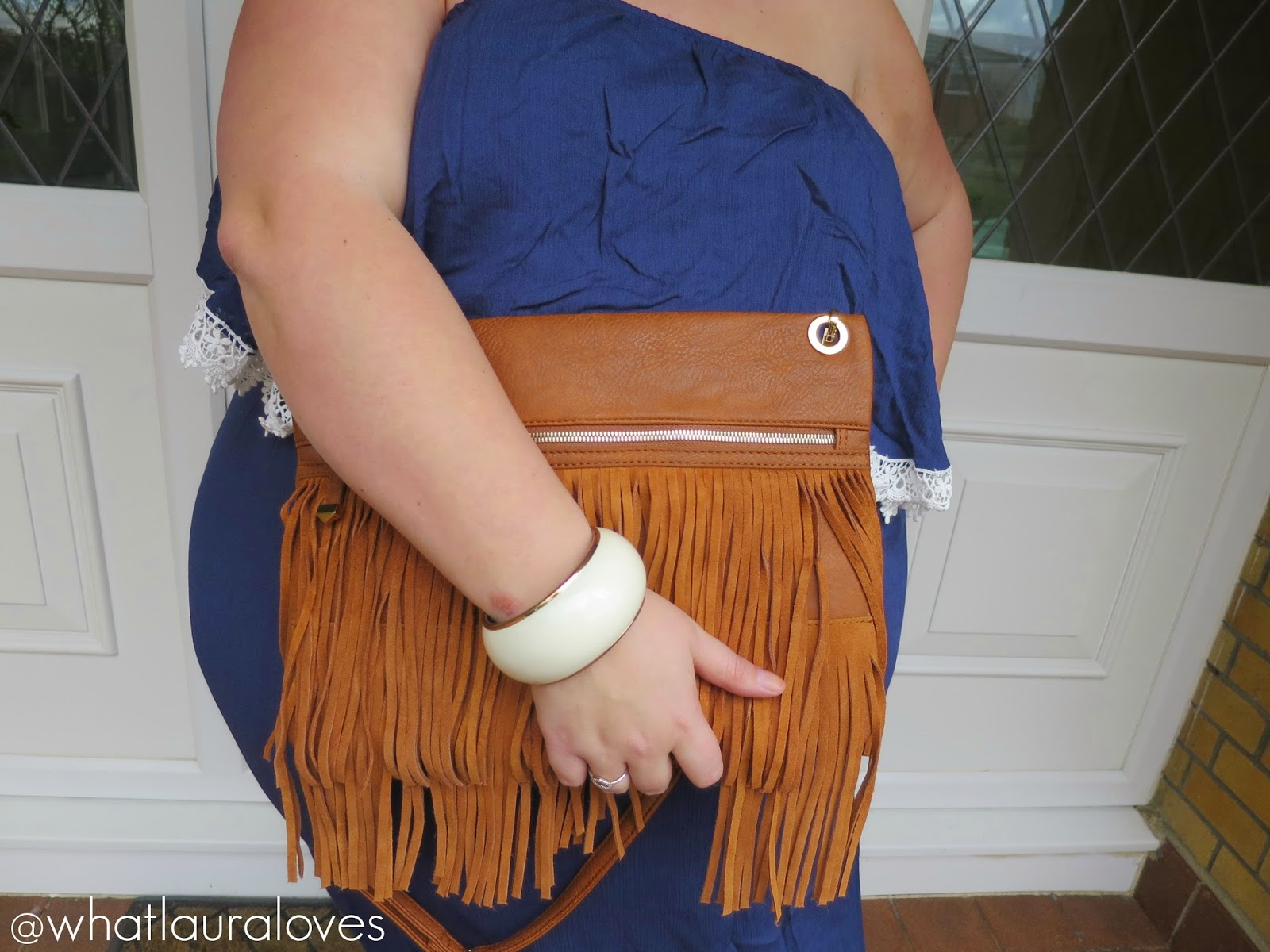 Tan Fringe Clutch Bag