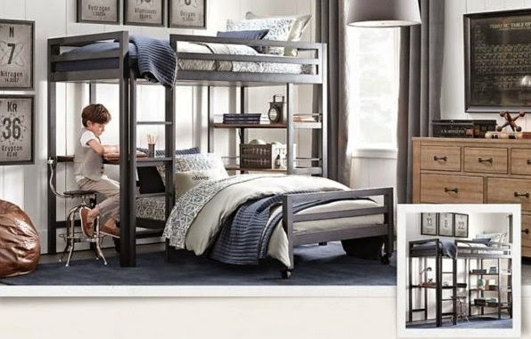 traditional boys room decor ideas 2015 bunk bed with work area and study space - Boys Room Ideas With Bunk Beds