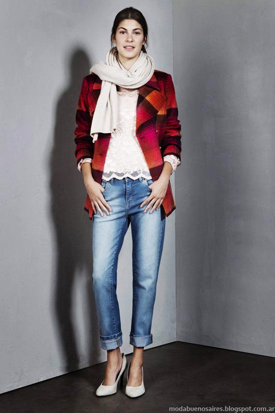 Sacos con estampas a cuadros última moda invierno 2014 Mujer.
