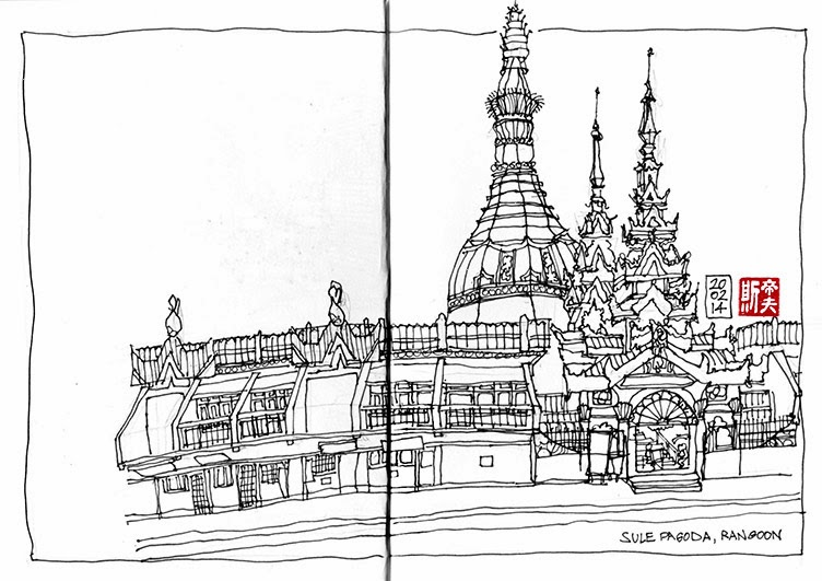 Sule Pagoda sketch, Rangoon