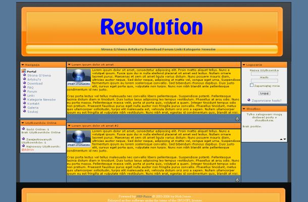 Free Blue Orange Grunge Php-fusion Theme Template