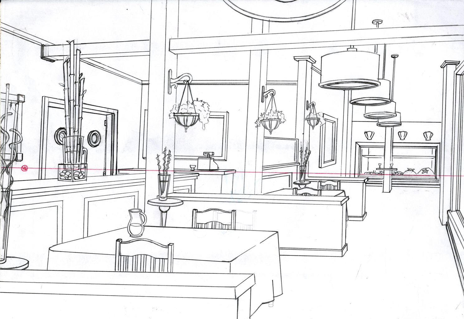 Inside Cafe Drawings
