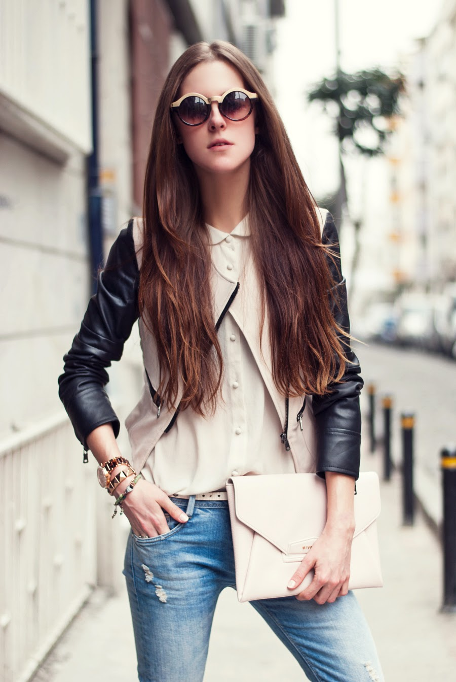 Streetstyle istanbul, fashion blogger 2014, russian blogger , leather sleeves jacket outfit, long hair, round glasses, spring trends 2014, street style details, neon rock katerina k