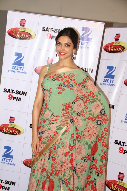 Deeika Padukone Stunning Slim beauty in lovely Saree Sleeveless Gown  promoting Piku in Dance India Dance   Super Moms