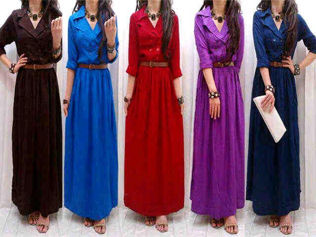 Maxi Dress Kerah Jas Belt Kode AE-8026