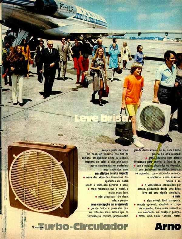 Propaganda do turbo circulador de ar da Arno veiculada em 1971.