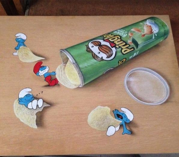 Lukisan 3Dimensi Pringle dan Smurf oleh Ivan Hoo