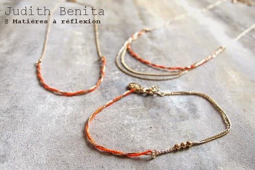 Bracelet collier sautoir doré rouge Judith Benita bijoux Bliss