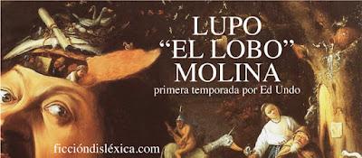 cuadro de El Bosco junto al título de la obra Lupo el Lobo Molina del blog ficciondislexica.com