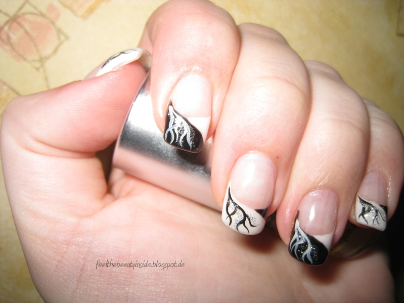 nageldesign french schwarz weiß - Schlichtes Naildesign [weiß braun] French