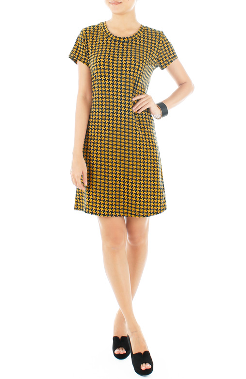 Blythe Houndstooth Dress – Yellow