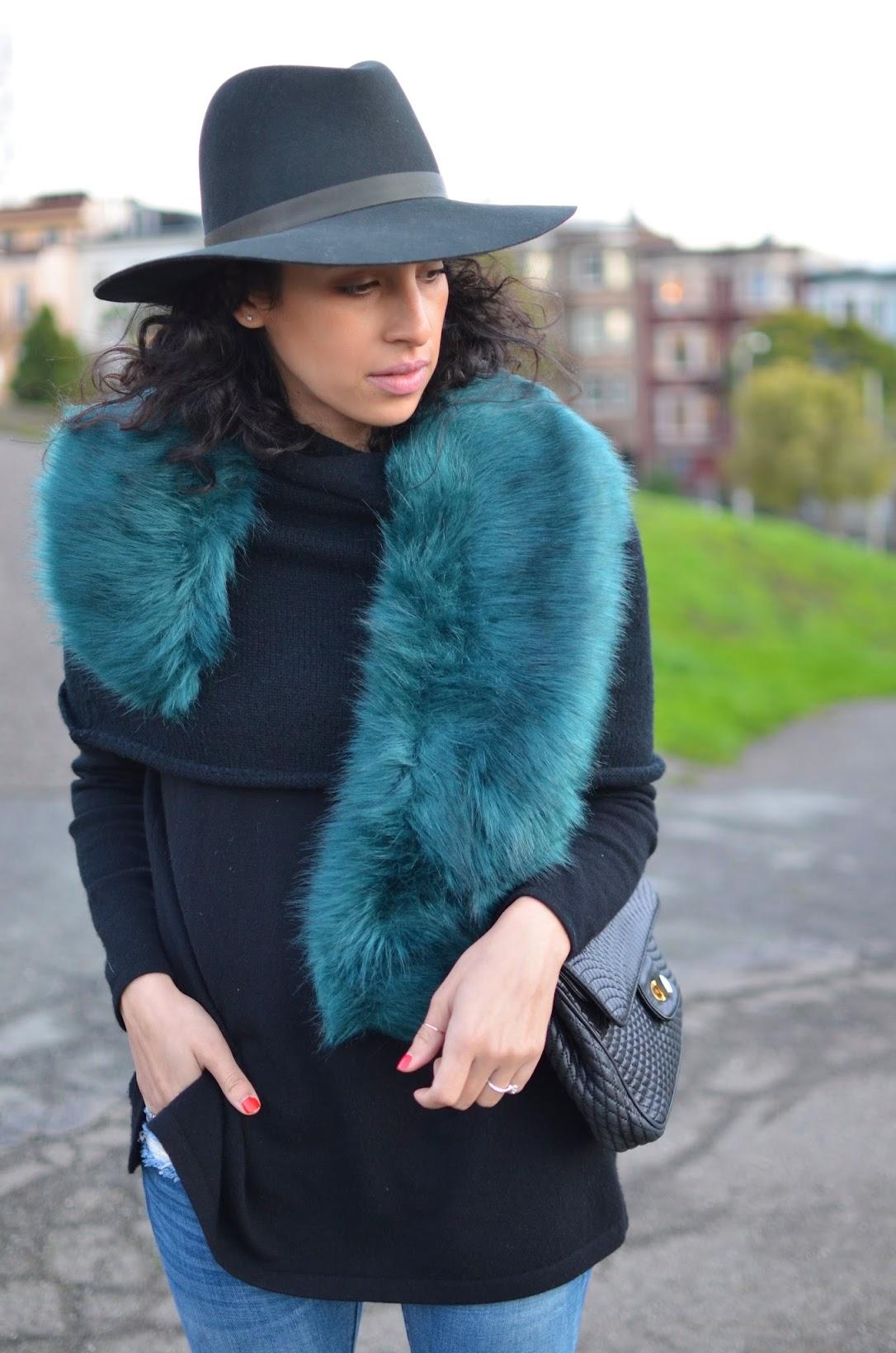 Allergic To Vanilla, Faux fur wrap missguided, green faux fur, fur stole, Janessa Leone fedora, Blank NYC denim, J. Crew Valentina heels, Bally Chain bag, short sweater cape