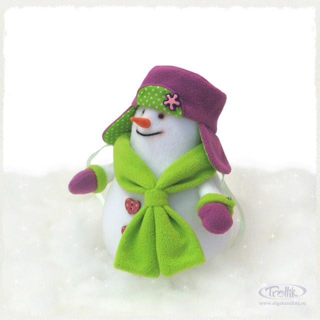Снеговик мягкая игрушка из флиса