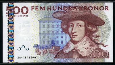 Sweden Currency 500 Swedish Kronor Krona banknote