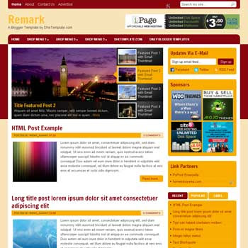 Remark blogger template. magazine style blogger template. 3 column footer blogger template. download template blogge seo friendly