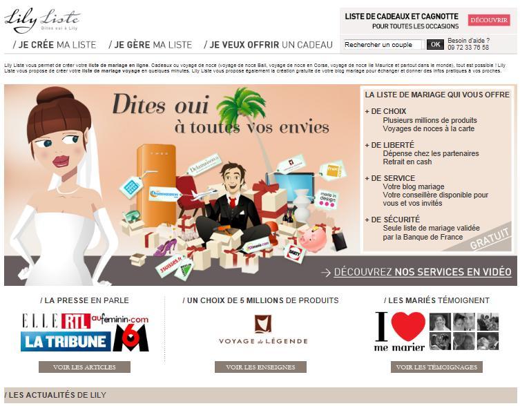 panorama du net lily liste votre liste de mariage 100 en ligne. Black Bedroom Furniture Sets. Home Design Ideas