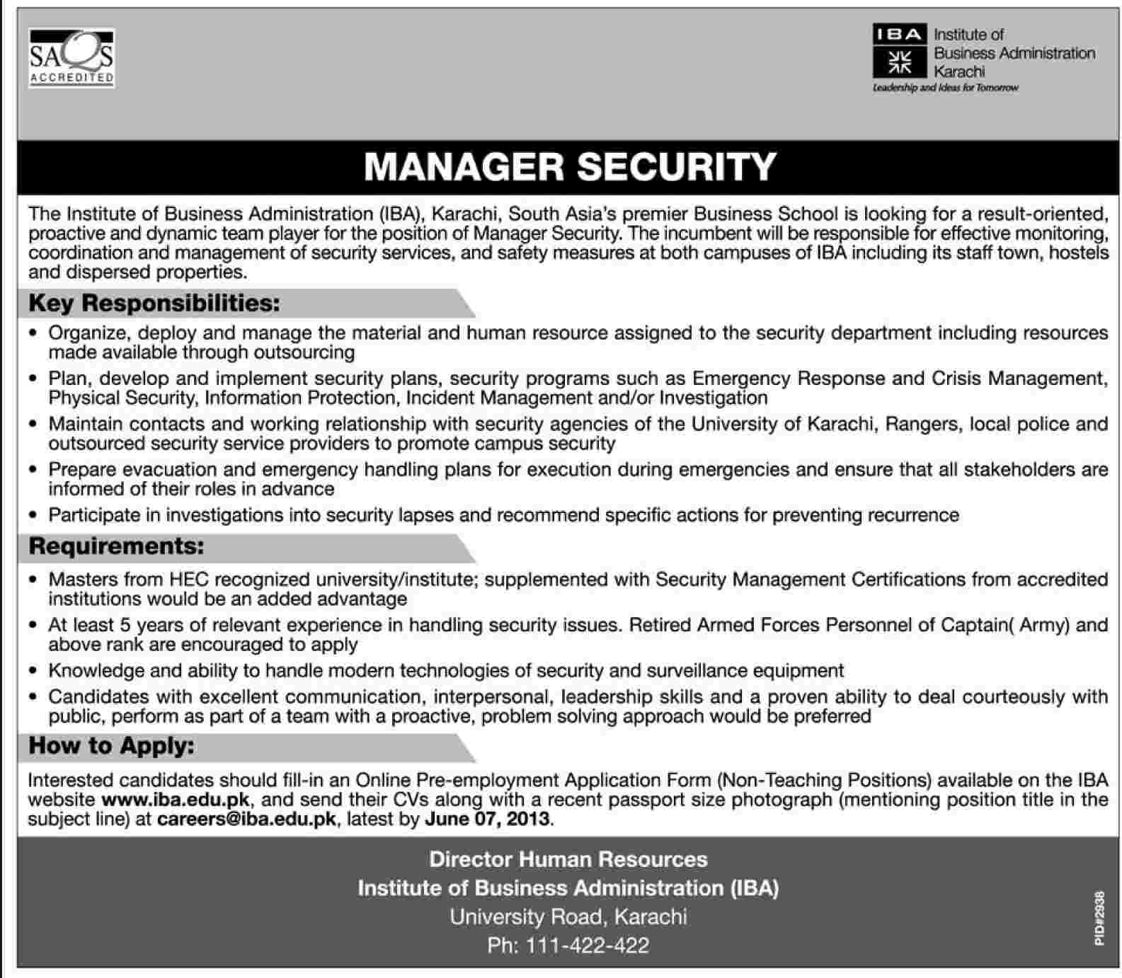iba karachi manager security job jobs in pakistan dawn. Black Bedroom Furniture Sets. Home Design Ideas