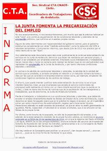LA JUNTA FOMENTA LA PRECARIZACIÓN DEL EMPLEO