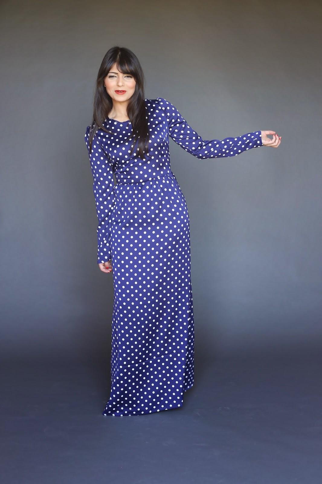 Modest long sleeve blue polkadot maxi dress with long sleeves and satin finish lds mormon tznius hijab fashion style