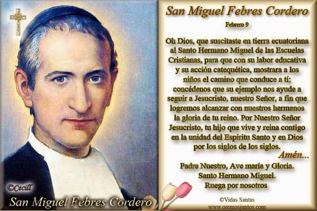 Queridos amigos, hoy celebra la Iglesía a San Miguel Febres Cordero, feliz día. - Estampita-SanMiguelFebresCordero-5