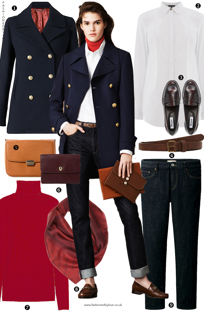 Another way to style a military style pea coat and jeans inspired by Bally Pre-Fall 2015 collection. via www.fashionedbylove.co.uk