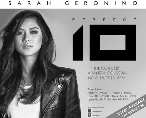 Sarah Geronimo 'Perfect 10' Concert | November 15 - Araneta Coliseum