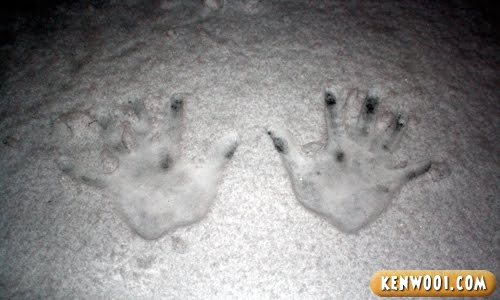 hand marks on snow