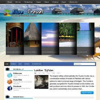 Blue Travel blogger template. template blogspot free