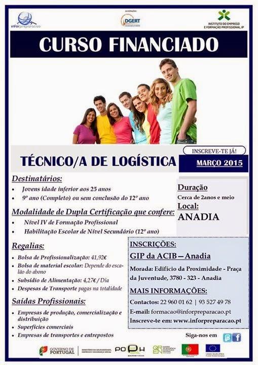 Curso de aprendizagem de logística em Anadia (equivalente ao 12º ano)