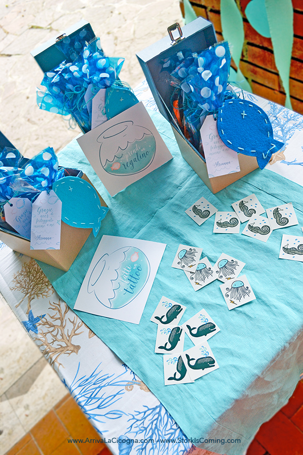 goodie bags table at under the sea girly party