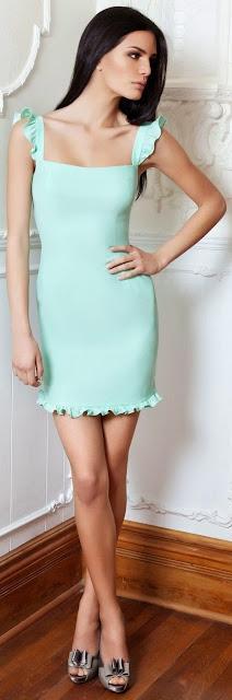 Gorgeous Mint Color Party Dress