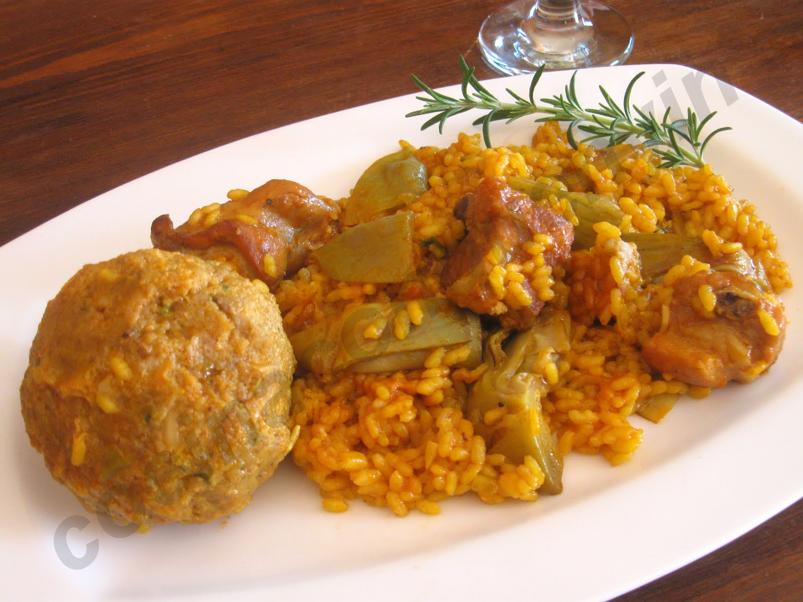 Cocina con quenyin paella de carne y alcachofas con for Como hacer paella de verduras