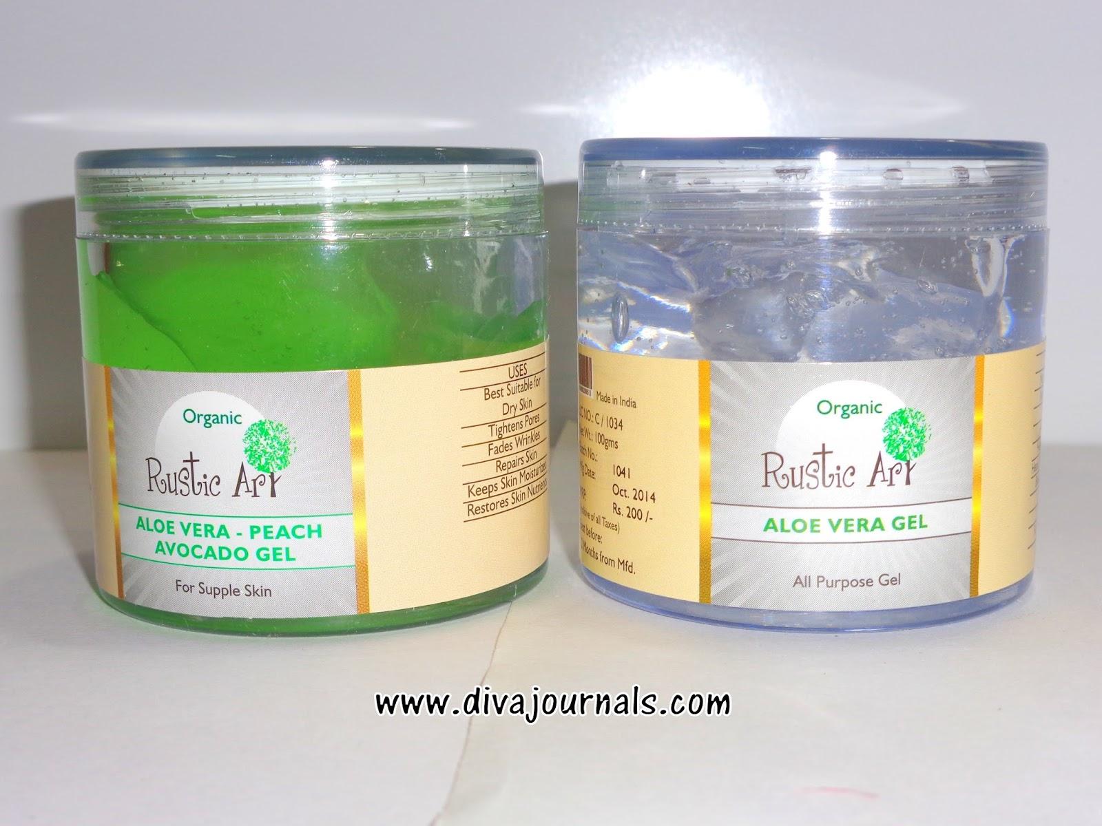 Rustic Art Aloe vera gel & Aloe vera-Peach-Avocado gel