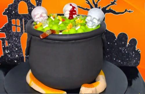 tarta halloween caldero bruja