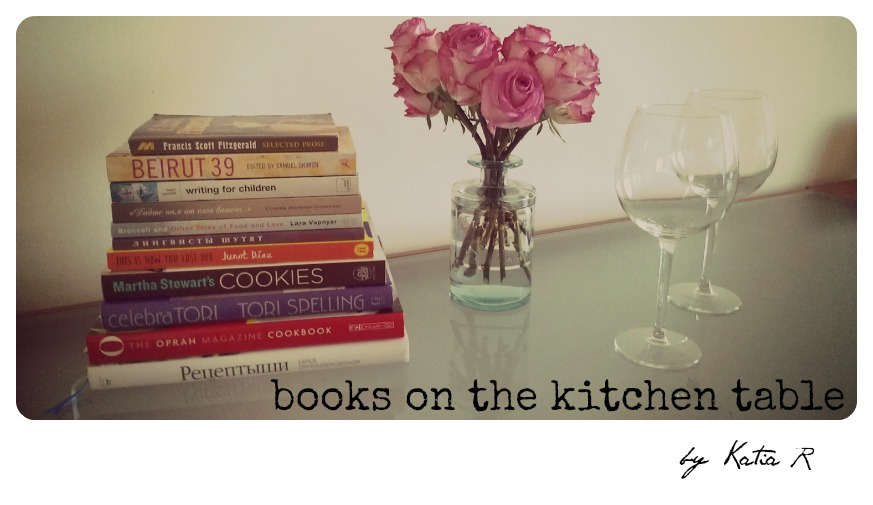 books on the kitchen table