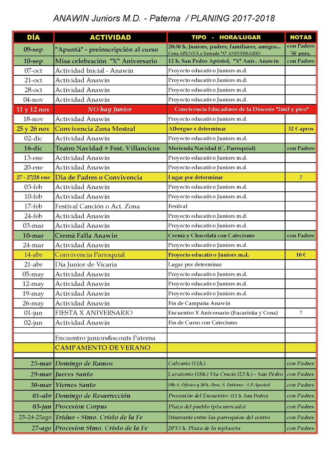 Calendario curso 2017-18