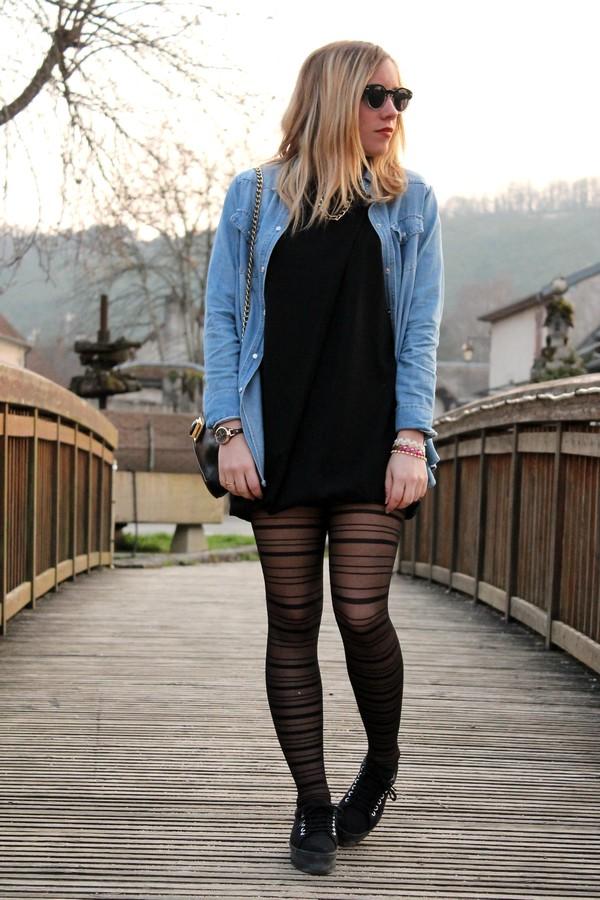 Robe noir et veste en jean