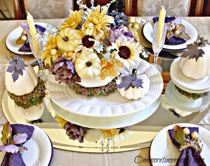 Purple and Yellow Fall Tablescape at One More Time Events.com